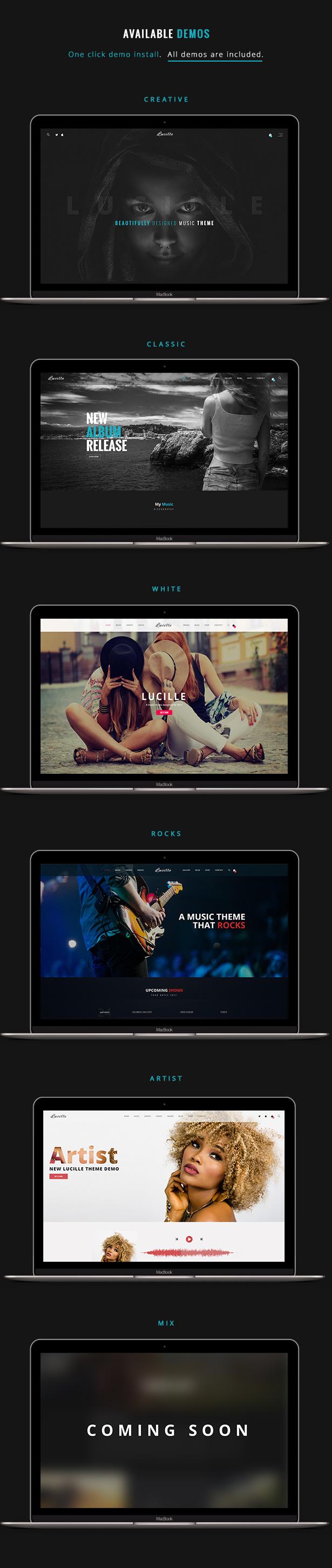 Lucille Music WordPress Theme Demos