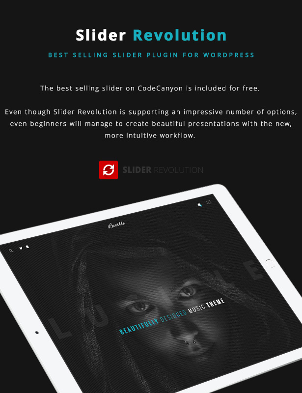 Lucille Music WordPress Theme - Slider Revolution