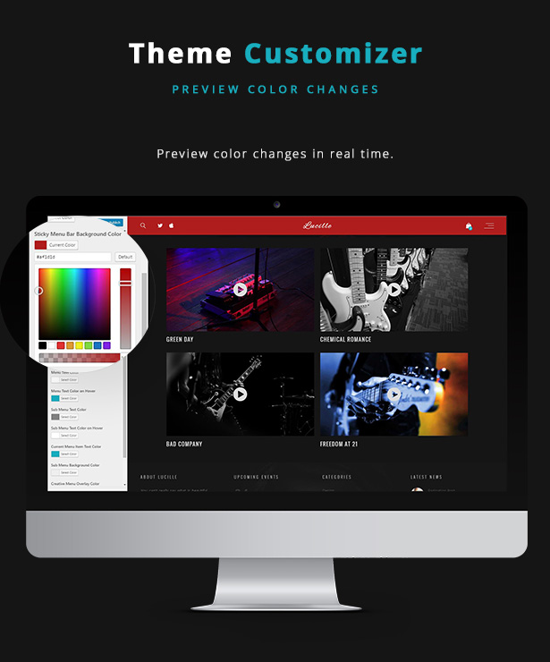 Lucille Music WordPress Theme - Theme Customizer