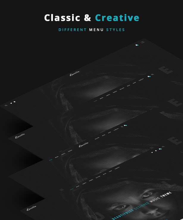 Lucille Music WordPress Theme - Different Menu Styles
