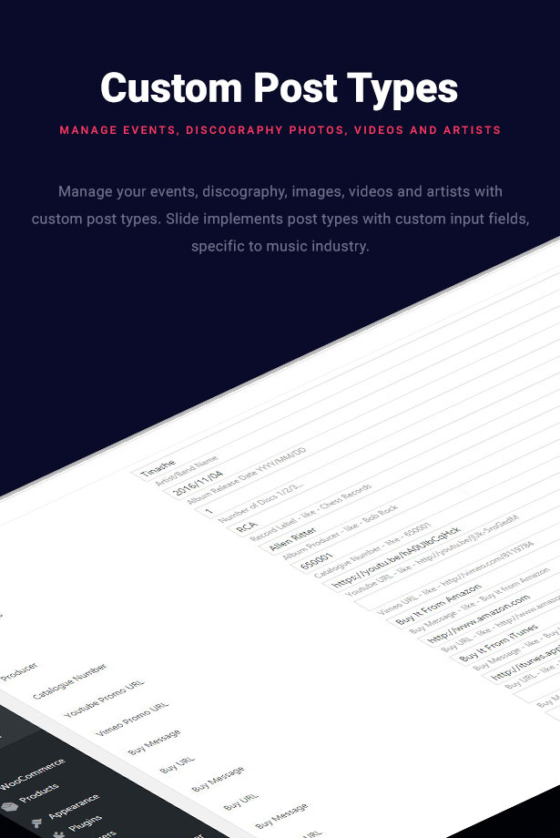 Slide Music WordPress Theme Custom Post Types