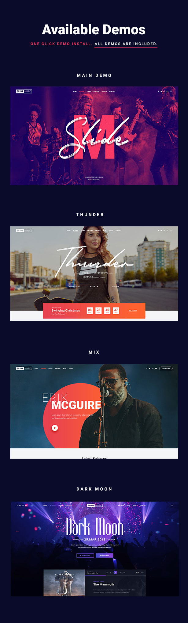 Slide Music WordPress Theme Demos