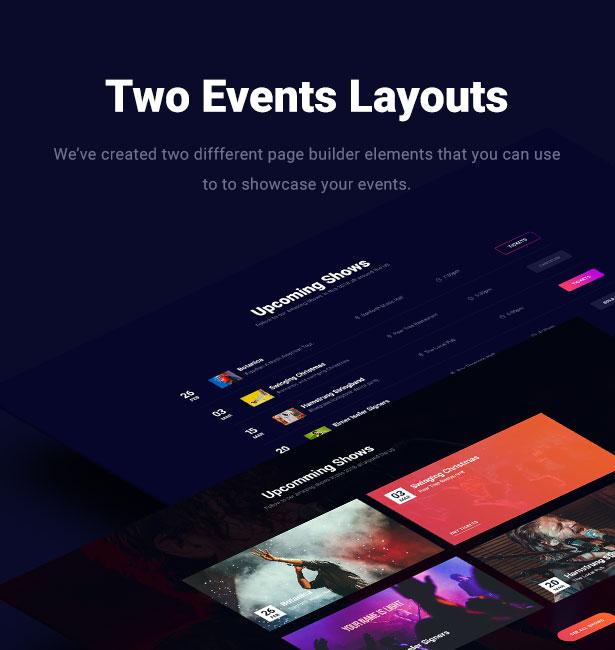 Slide Music WordPress Theme Events Layouts