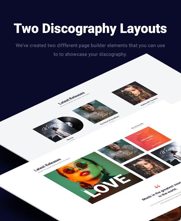Slide Music WordPress Theme Discography Layouts