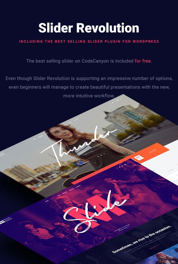Slide Music WordPress Theme Revolution Slider