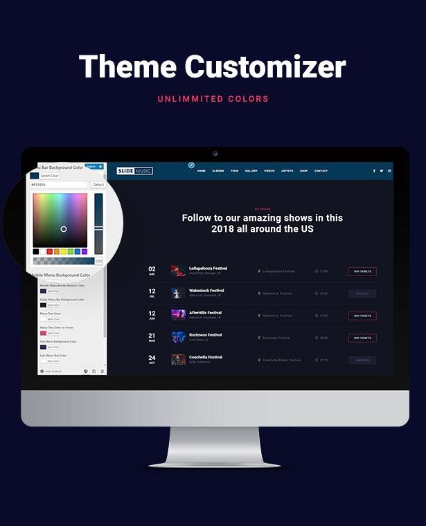 Slide Music WordPress Theme Customizer